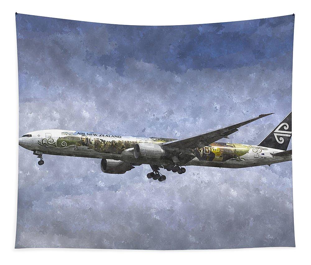 Watercolor Hobbit Tapestry featuring the photograph Air New Zealand Hobbit Boeing 777 Art by David Pyatt