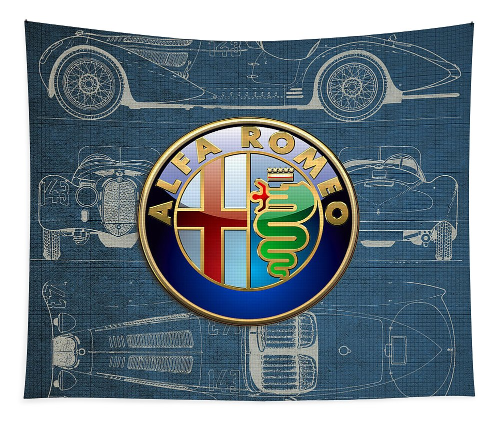 �wheels Of Fortune� By Serge Averbukh Tapestry featuring the photograph Alfa Romeo 3 D Badge Over 1938 Alfa Romeo 8 C 2900 B Vintage Blueprint by Serge Averbukh