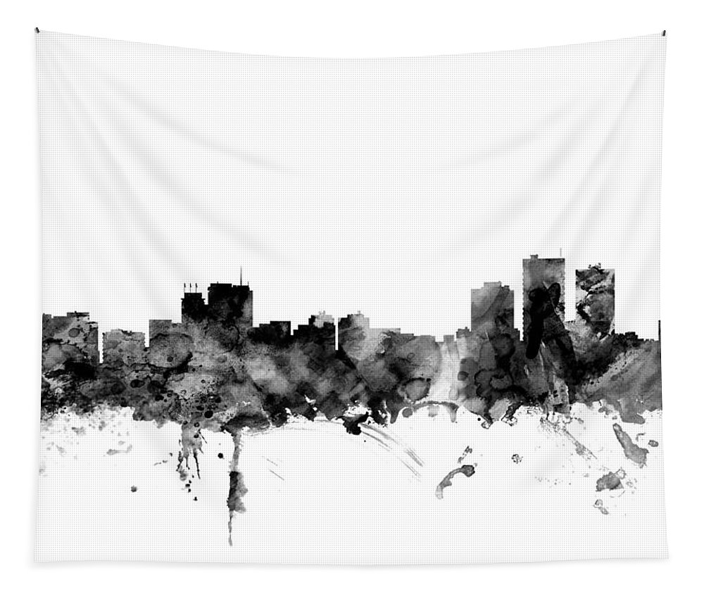 Anchorage Tapestry featuring the digital art Anchorage Alaska Skyline by Michael Tompsett