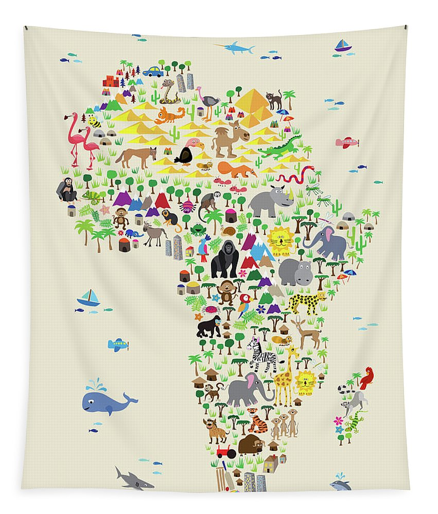 Map Of The Africa Tapestry featuring the digital art Animal Map Of Africa For Children And Kids by Michael Tompsett