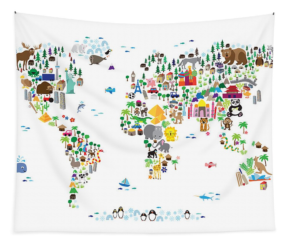 Map Of The World Tapestry featuring the digital art Animal Map Of The World For Children And Kids by Michael Tompsett