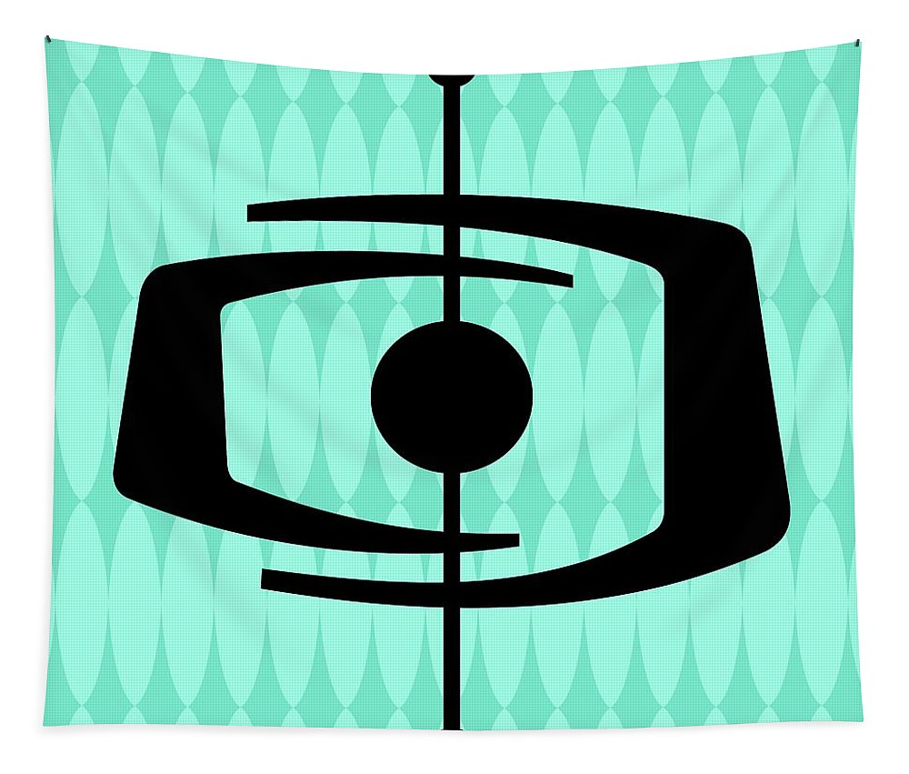 Mid Century Modern Tapestry featuring the digital art Atomic Shape 1 On Aqua by Donna Mibus