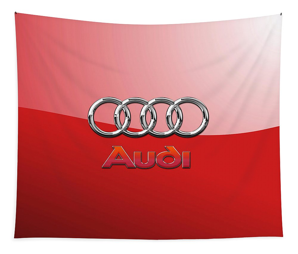 Wheels Of Fortune By Serge Averbukh Tapestry featuring the photograph Audi - 3D Badge on Red by Serge Averbukh
