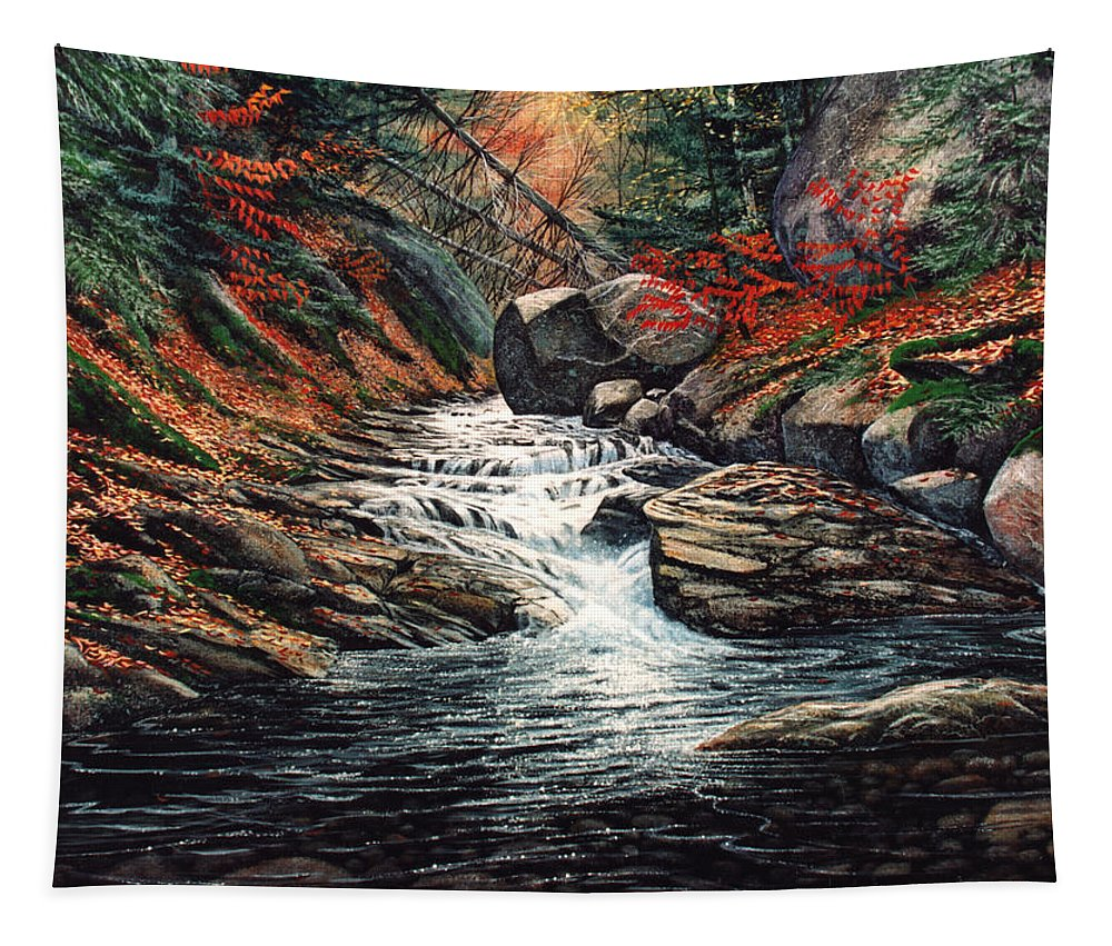 Autumn Brook Tapestry featuring the painting Autumn Brook by Frank Wilson
