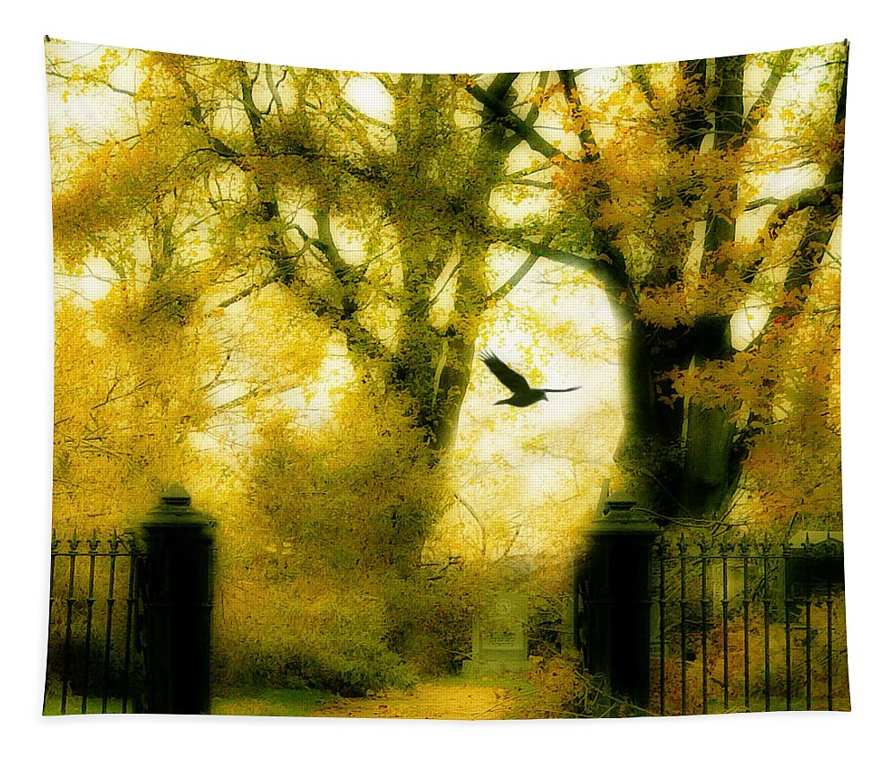Yellow Tapestry featuring the photograph Autumn Graveyard by Gothicrow Images