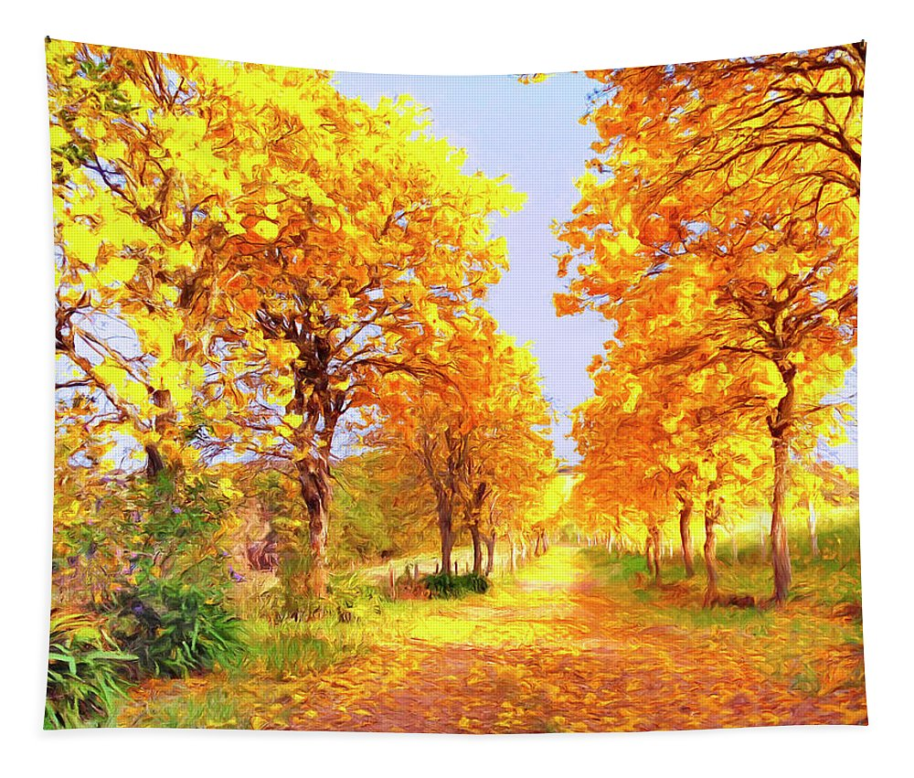 Autumn Tapestry featuring the painting Autumn In Tuscany by Dominic Piperata