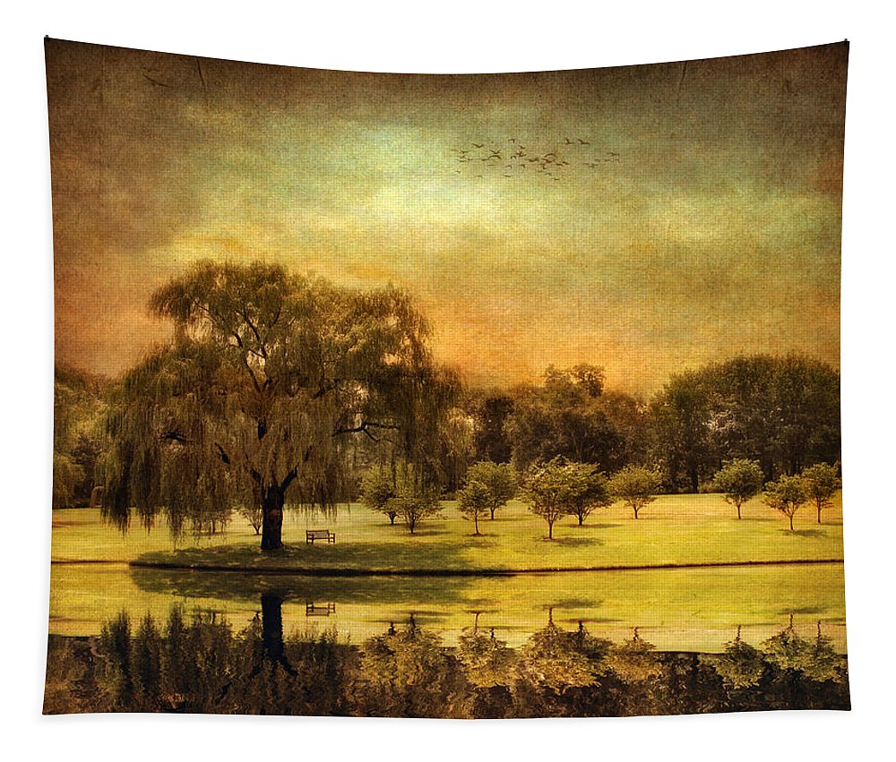 Nature Tapestry featuring the photograph Autumns Golden Mirror by Jessica Jenney