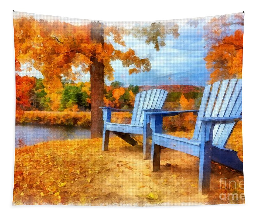 Watercolor Tapestry featuring the painting Autumn Splendor Watercolor by Edward Fielding