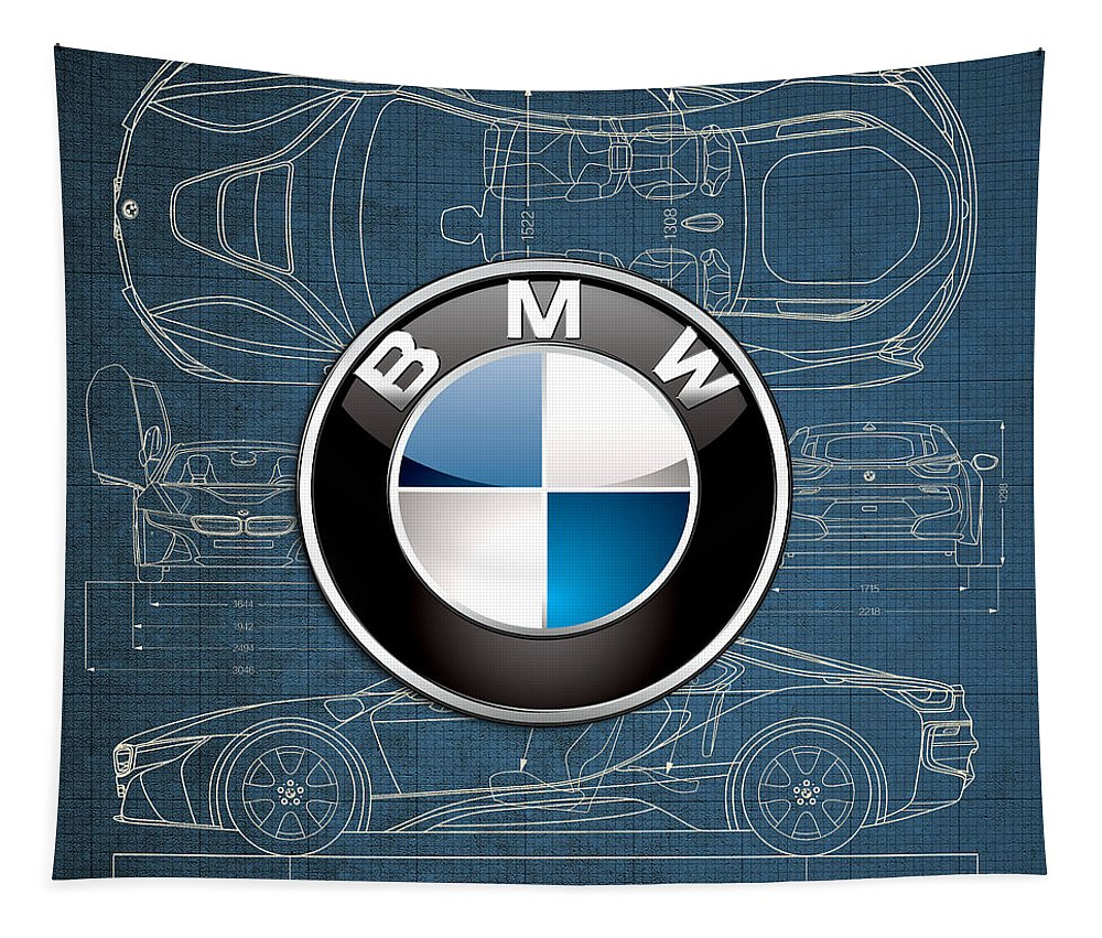 �wheels Of Fortune� By Serge Averbukh Tapestry featuring the photograph B M W 3 D Badge over B M W i8 Blueprint by Serge Averbukh
