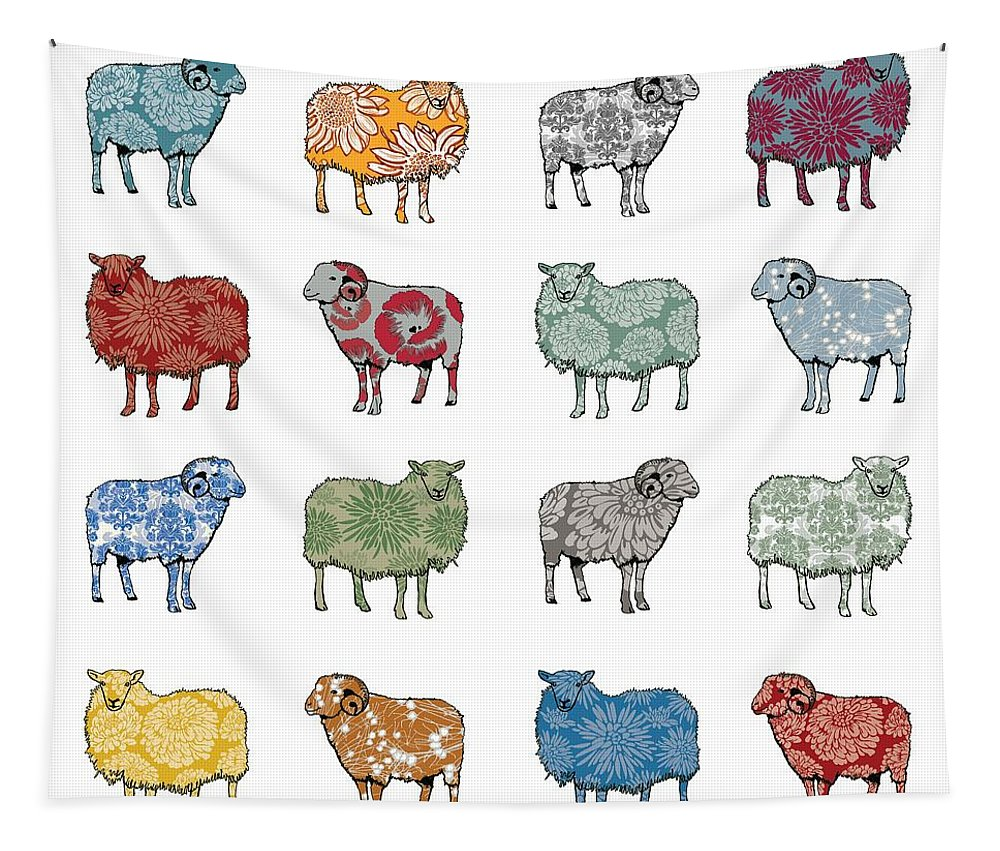 Sheep Tapestry featuring the digital art Baa Humbug by Sarah Hough