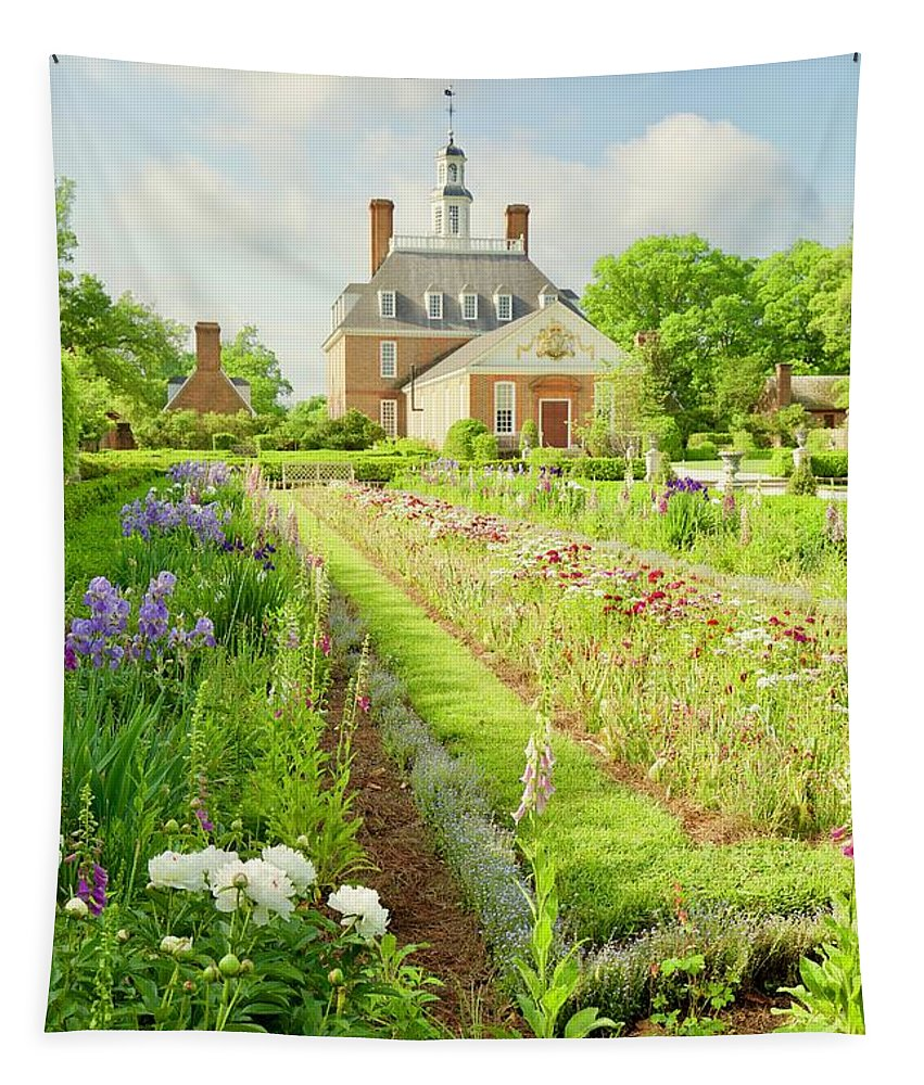 Colonial Williamsburg Tapestry featuring the photograph Ballroom Gardens In The Spring by Rachel Morrison
