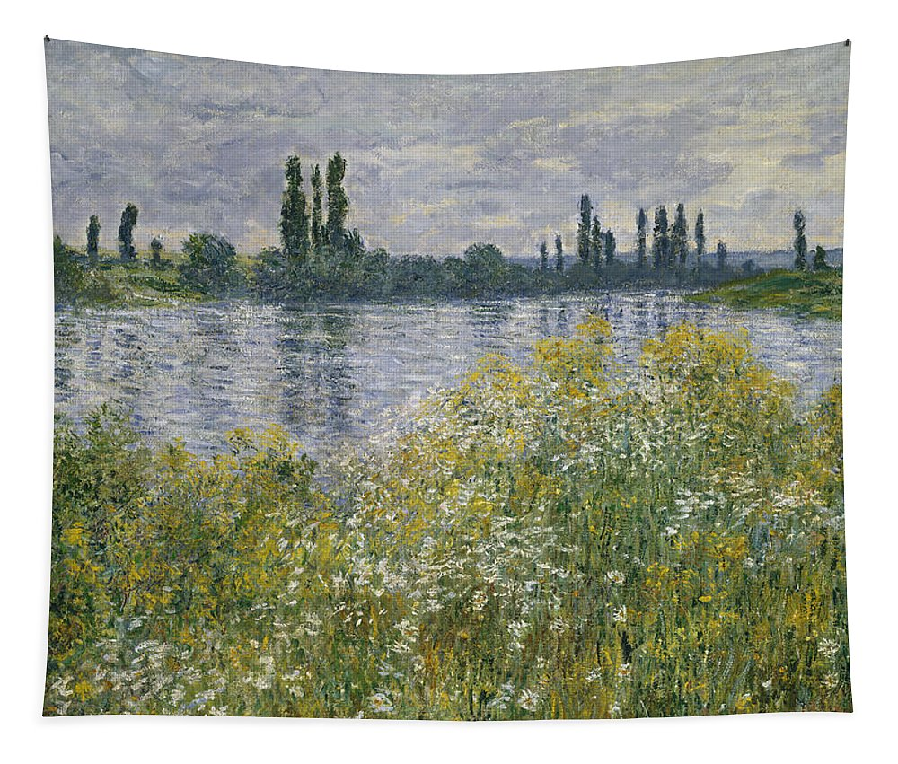 Claude Monet Tapestry featuring the painting Banks Of The Seine by Claude Monet