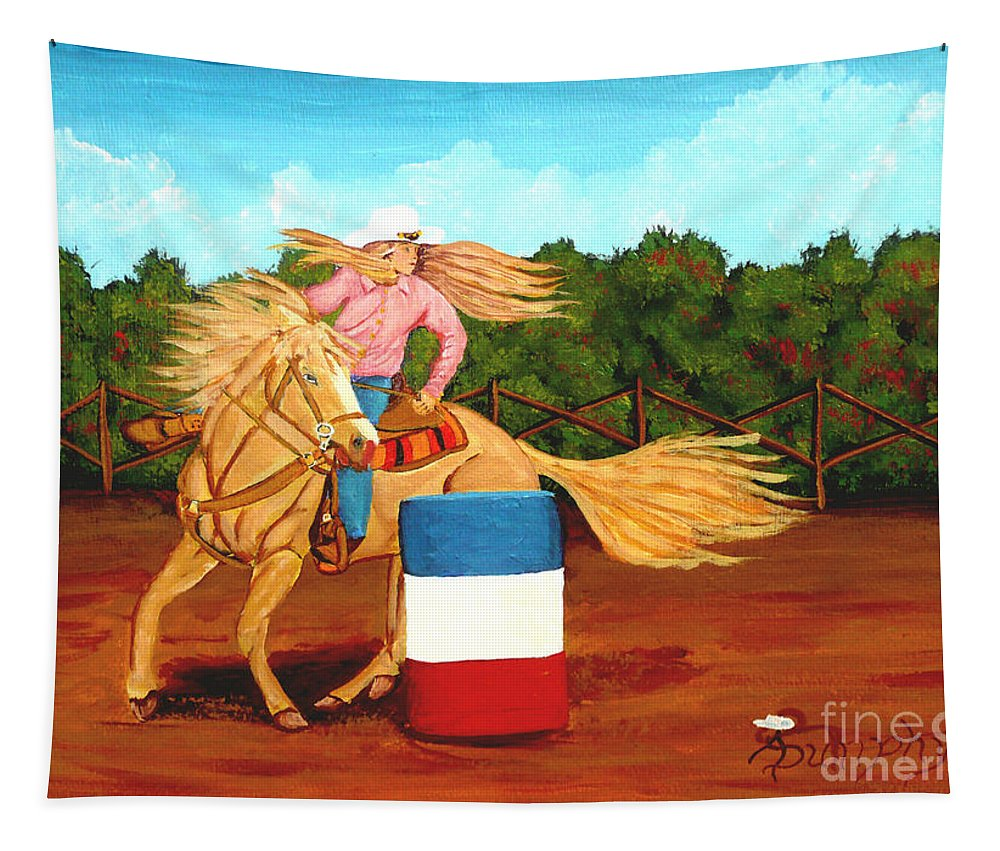 Rodeo Tapestry featuring the painting Barrel Racer by Anthony Dunphy