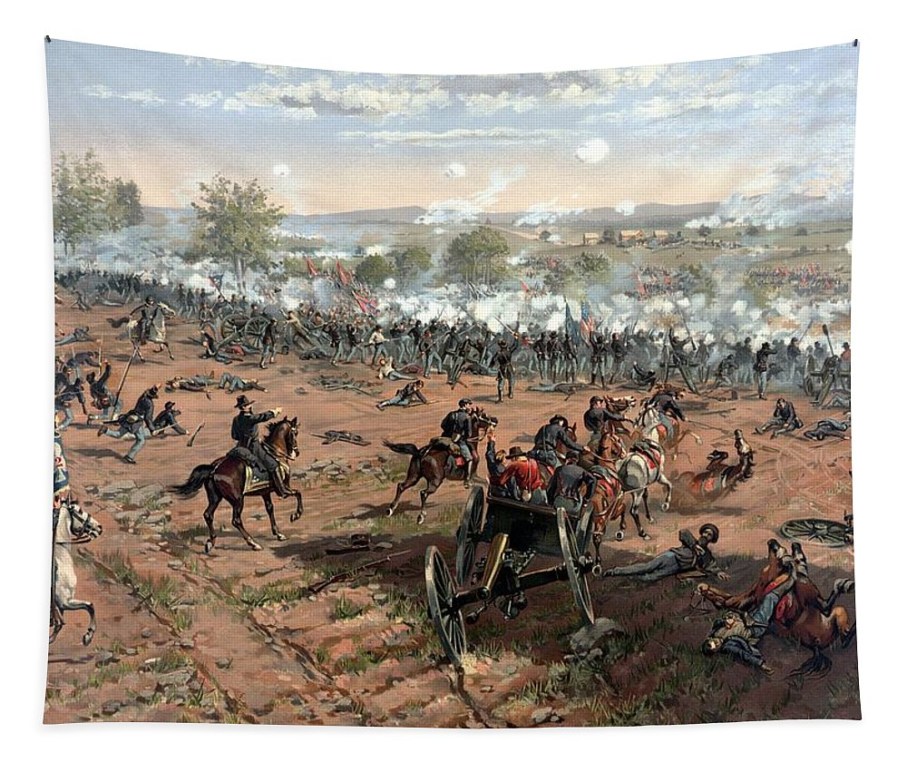 Civil War Tapestry featuring the painting Battle Of Gettysburg by War Is Hell Store
