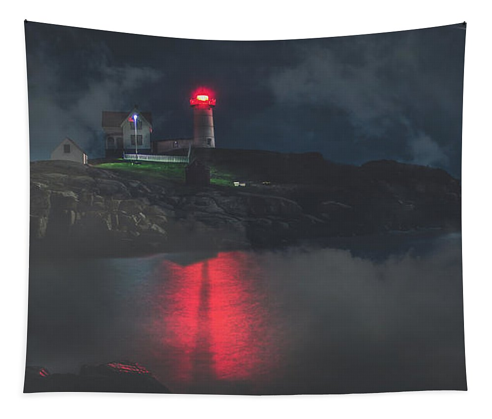 Maine Tapestry featuring the photograph Beacon In The Evening by Pixabay