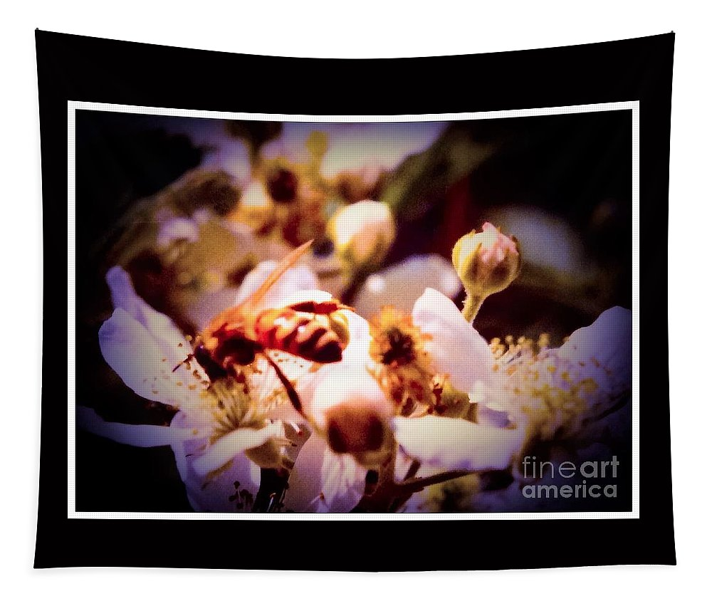 Nature Tapestry featuring the photograph Bee On Apple Blossoms by Debra Lynch