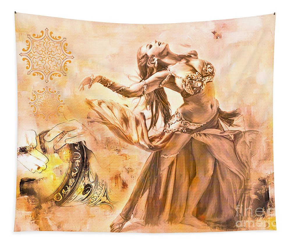 Arabian Tapestry featuring the painting Belly Dance by Gull G