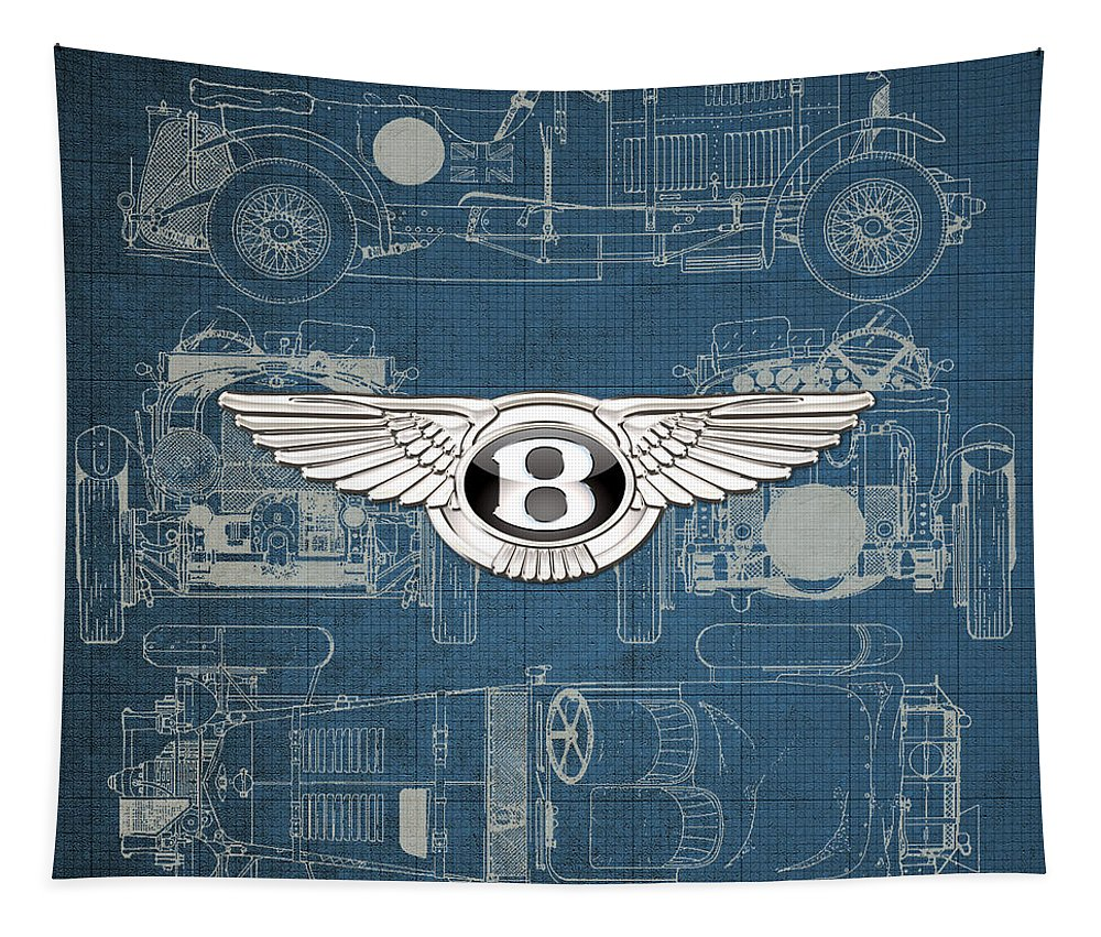 �wheels Of Fortune� By Serge Averbukh Tapestry featuring the photograph Bentley - 3 D Badge over 1930 Bentley 4.5 Liter Blower Vintage Blueprint by Serge Averbukh