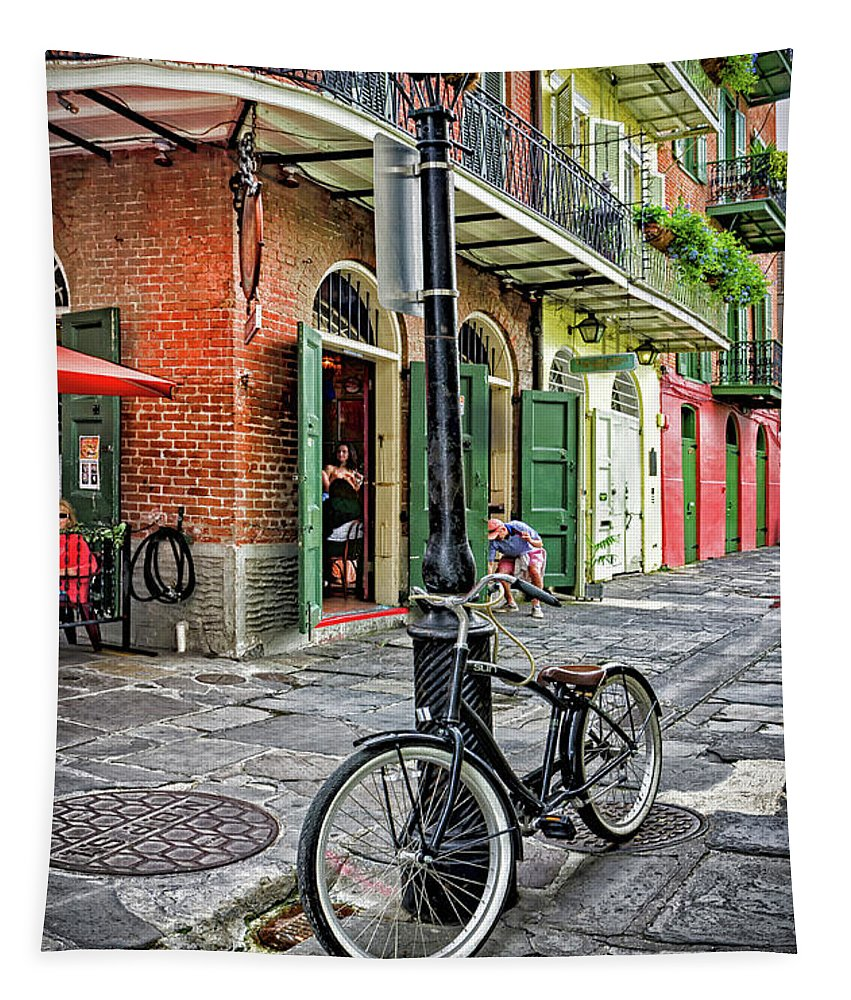 Bike Tapestry featuring the photograph Bike And Lamppost In Pirate's Alley by Kathleen K Parker