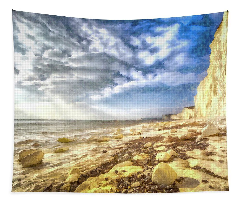 Seven Sisters Watercolour Tapestry featuring the photograph Birling Gap And Seven Sisters Art by David Pyatt