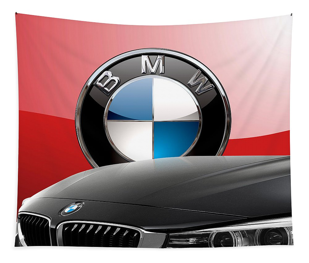 �auto Badges� Collection By Serge Averbukh Tapestry featuring the photograph Black B M W - Front Grill Ornament and 3 D Badge on Red by Serge Averbukh