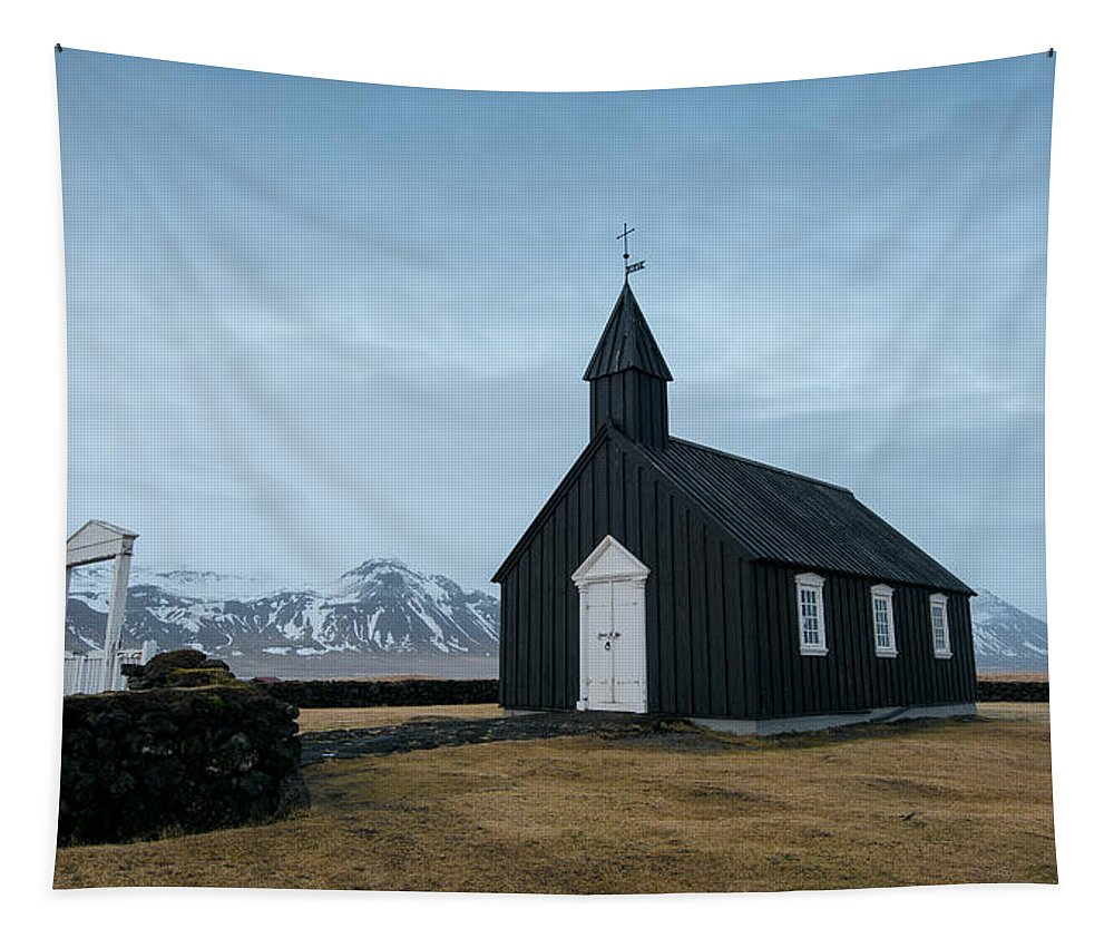 Budir Church Tapestry featuring the photograph Black Church Of Budir, Iceland by Michalakis Ppalis
