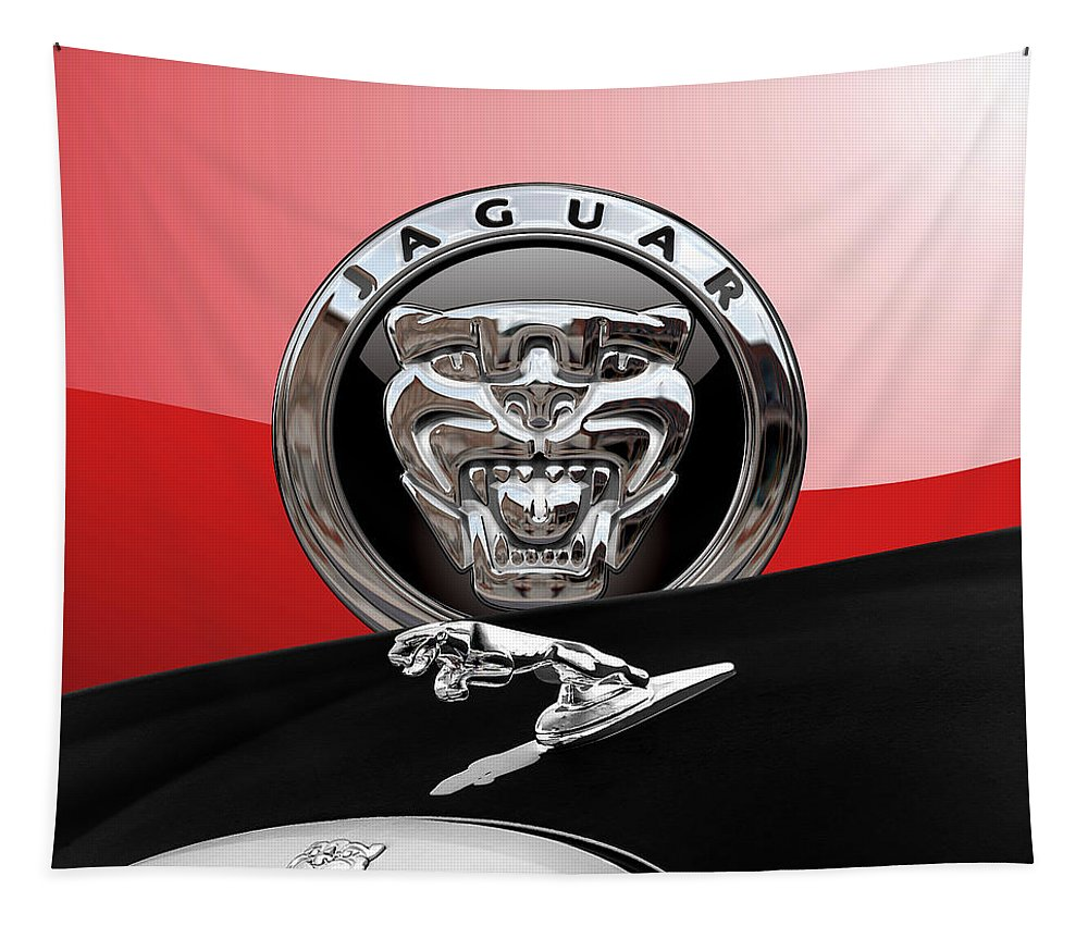 'auto Badges' Collection By Serge Averbukh Tapestry featuring the photograph Black Jaguar - Hood Ornaments And 3 D Badge On Red by Serge Averbukh