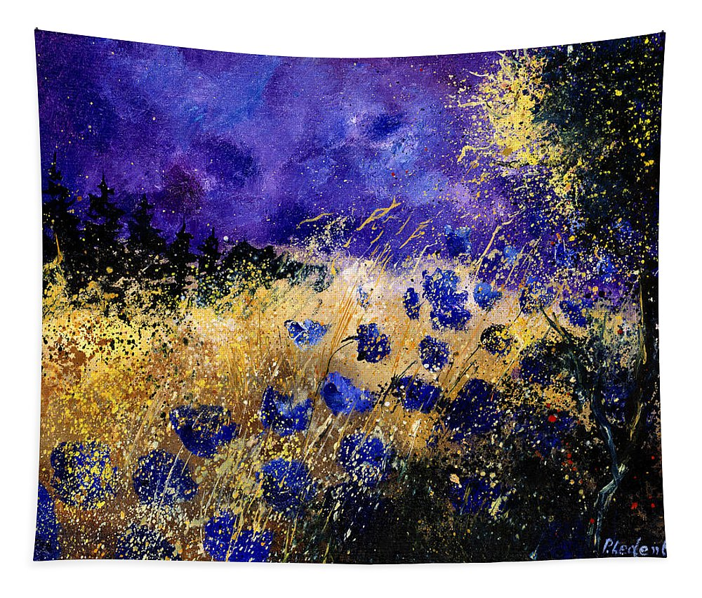 Poppies Tapestry featuring the painting Blue Cornflowers by Pol Ledent