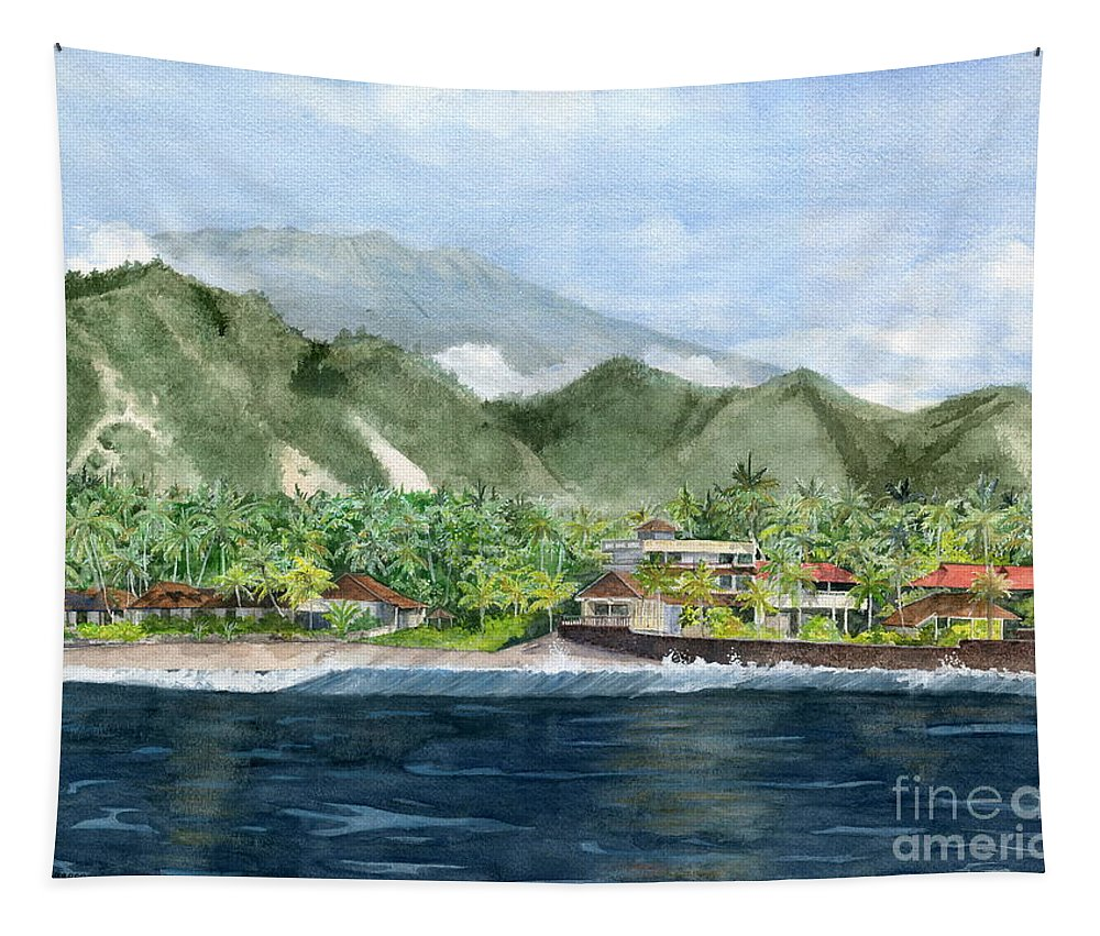 Blue Lagoon Tapestry featuring the painting Blue Lagoon Bali Indonesia by Melly Terpening