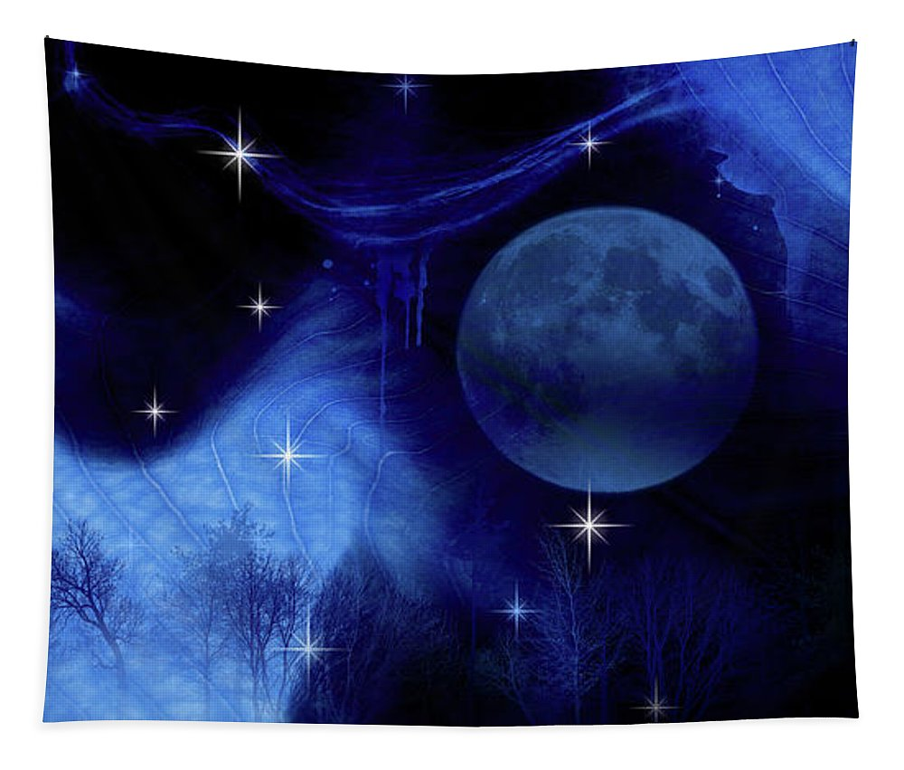 Nature Tapestry featuring the photograph Blue Moon by Prar Kulasekara
