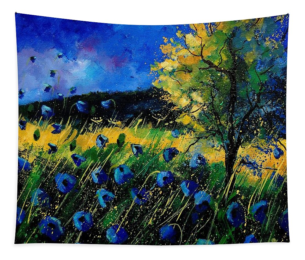Poppies Tapestry featuring the painting Blue poppies by Pol Ledent