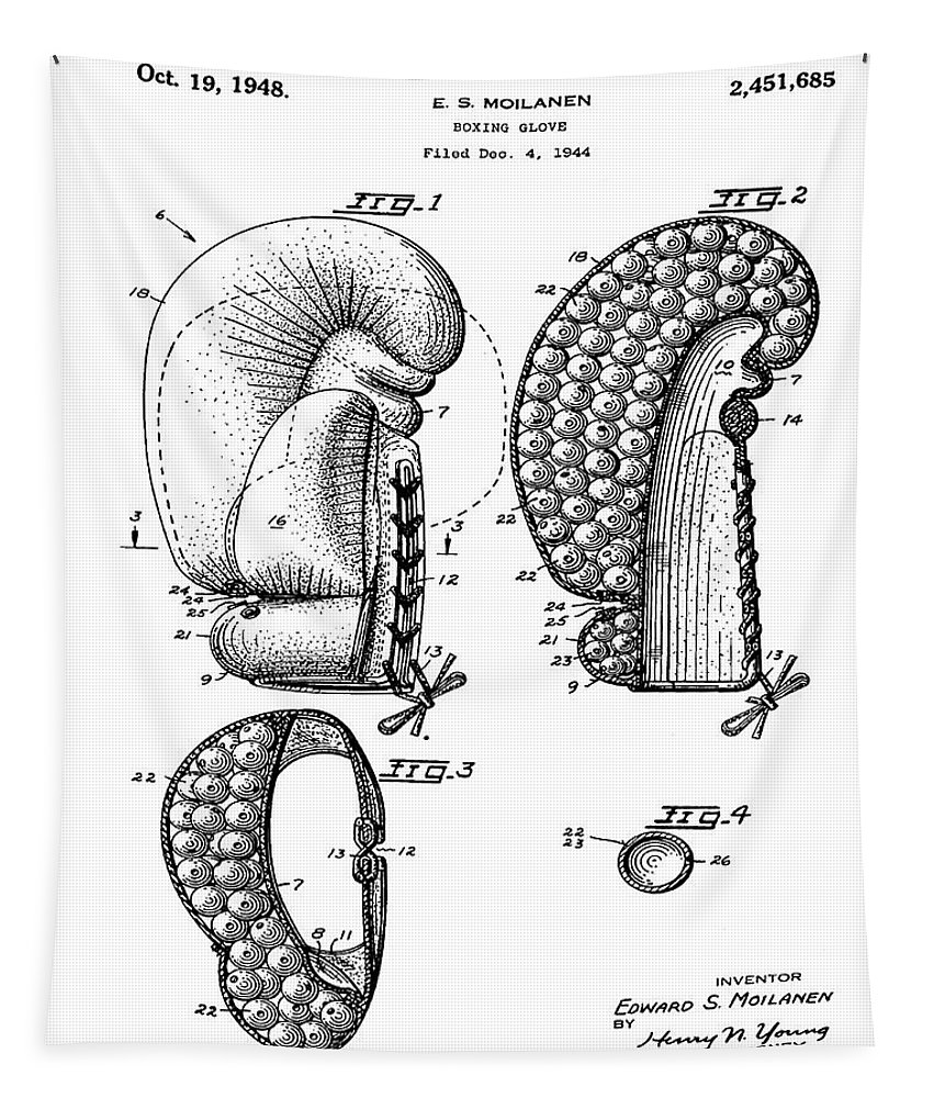 Boxing Tapestry featuring the photograph Boxing Glove Patent 1944 by Bill Cannon