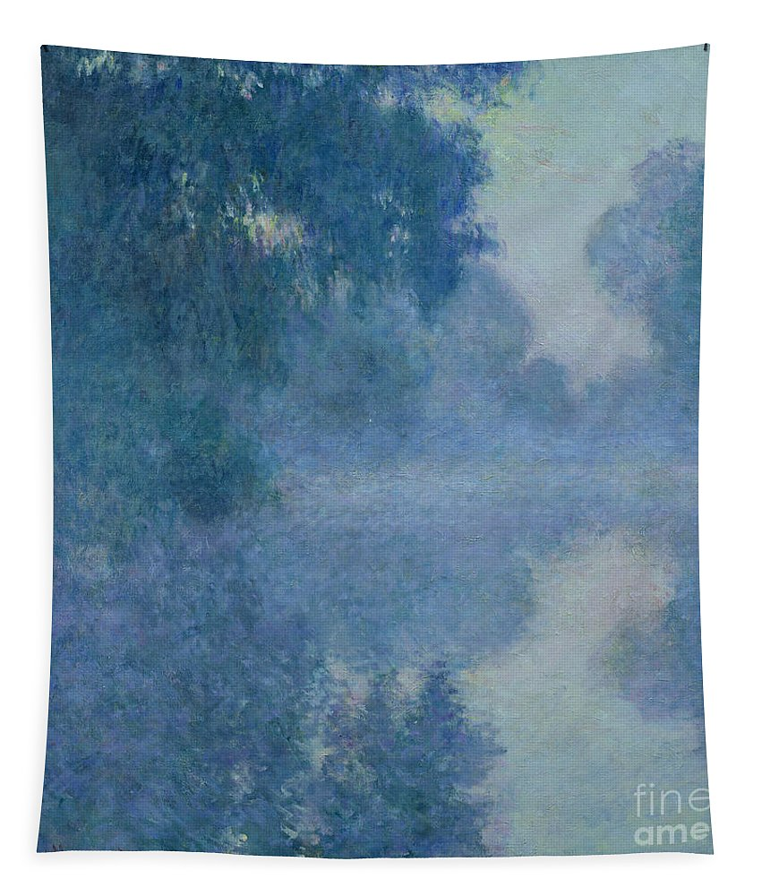 Impressionist; River; Reflection; Fog; Foggy; Misty; Mist; Branch; Seine; Giverny; Claude Monet; Monet; Tree; Trees Tapestry featuring the painting Branch Of The Seine Near Giverny by Claude Monet