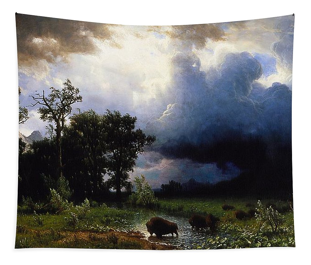 Buffalo Trail Tapestry featuring the painting Buffalo Trail The Impending Storm by Albert Bierstadt