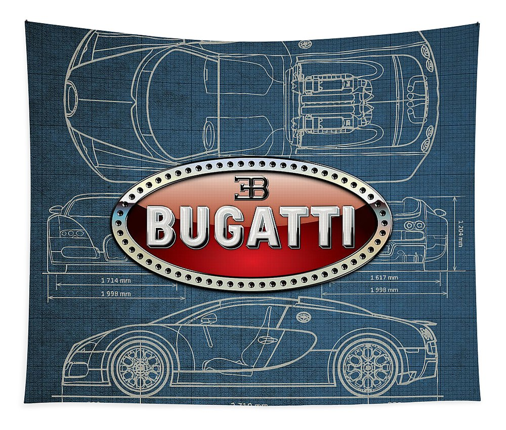 �wheels Of Fortune� By Serge Averbukh Tapestry featuring the photograph Bugatti 3 D Badge over Bugatti Veyron Grand Sport Blueprint by Serge Averbukh