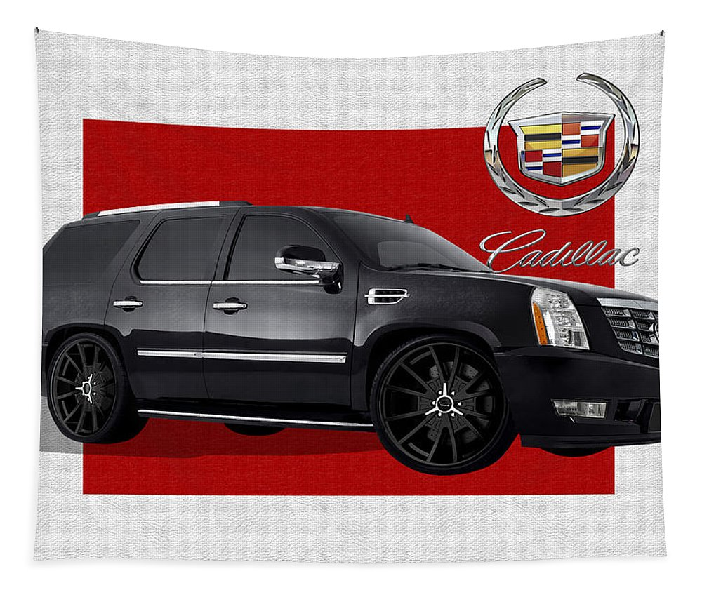 �cadillac� By Serge Averbukh Tapestry featuring the photograph Cadillac Escalade with 3 D Badge by Serge Averbukh