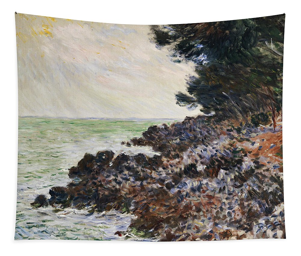 Cap Martin (oil On Canvas) Impressionism; Impressionist; Landscape; Seascape; Tree; Rock; Rocky; Coast; Coastal; Sea; Ocean; French Tapestry featuring the painting Cap Martin by Claude Monet