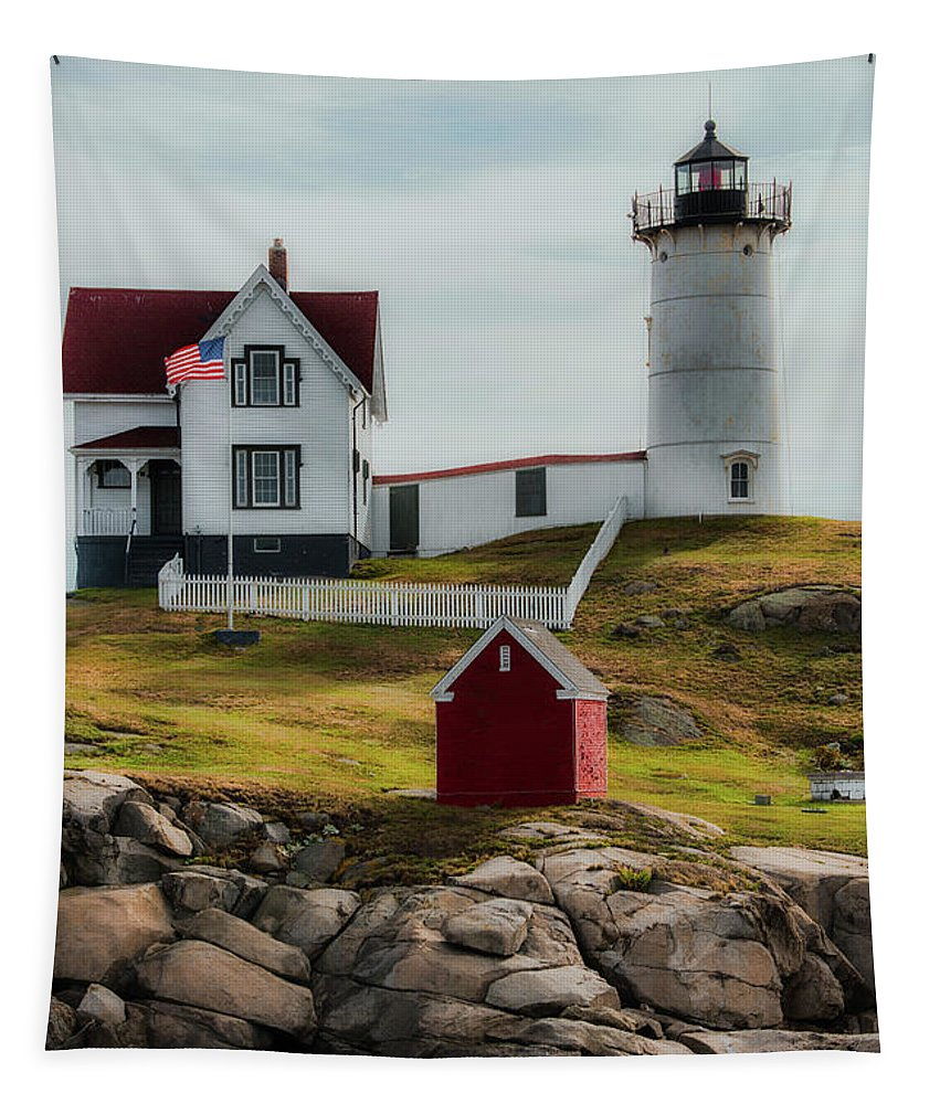 Lighthouse Tapestry featuring the photograph Cape Neddick Lighthouse 4 by Sherman Perry