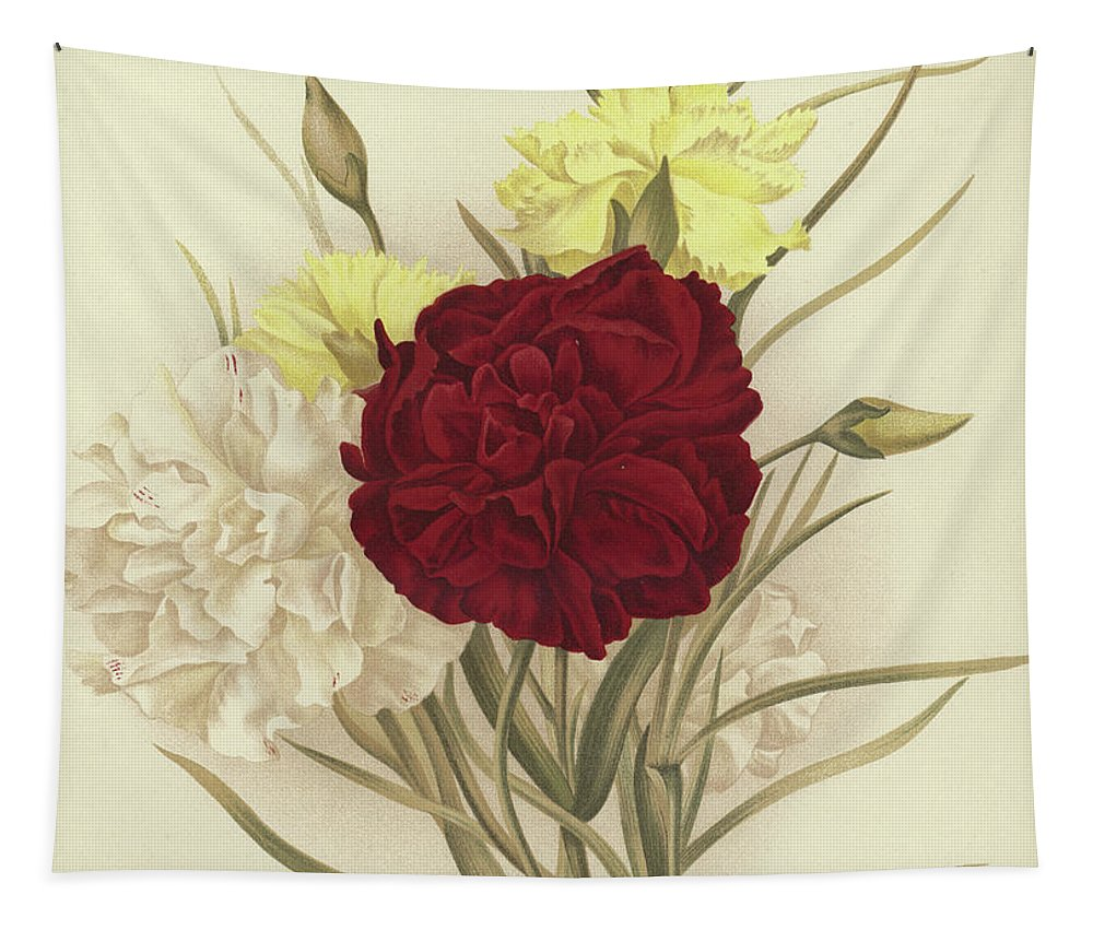 Still-life Tapestry featuring the painting Carnations by English School