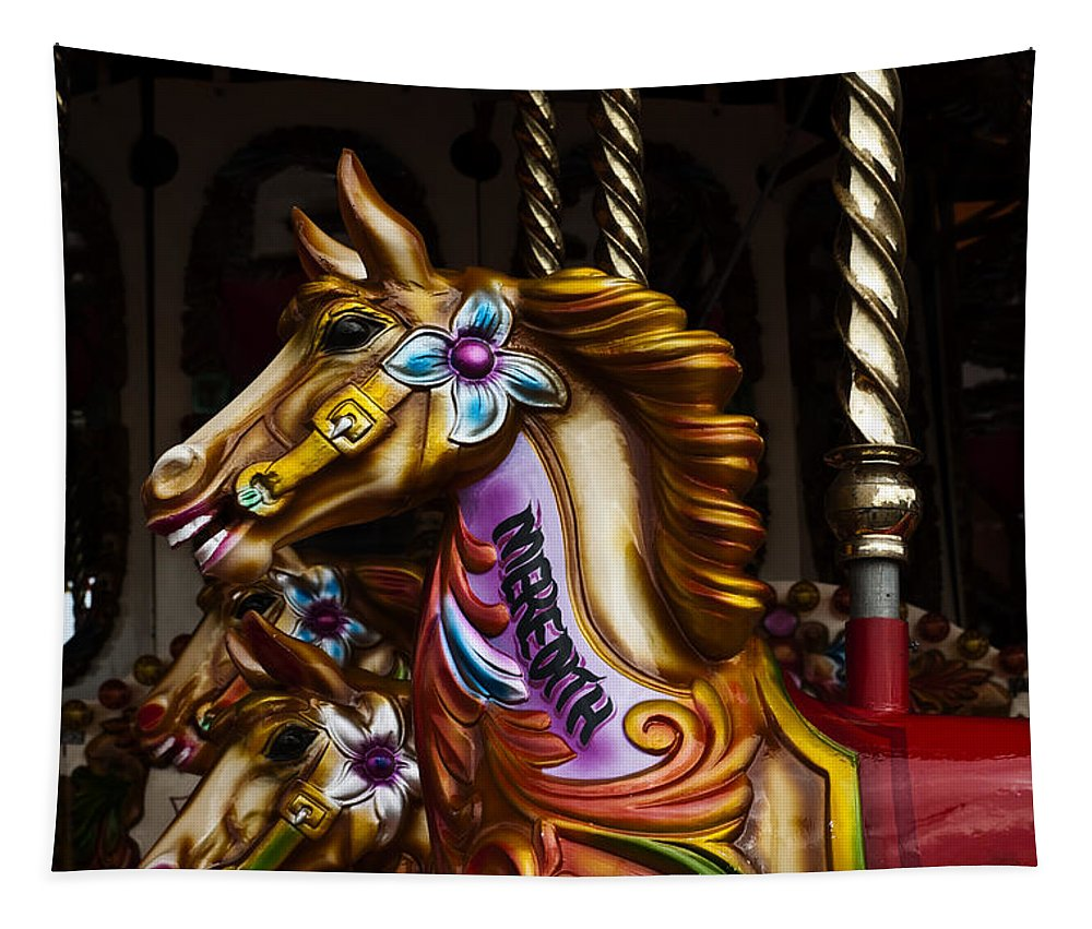 Carousel Horses Tapestry featuring the photograph Carousel Horses by Steve Purnell