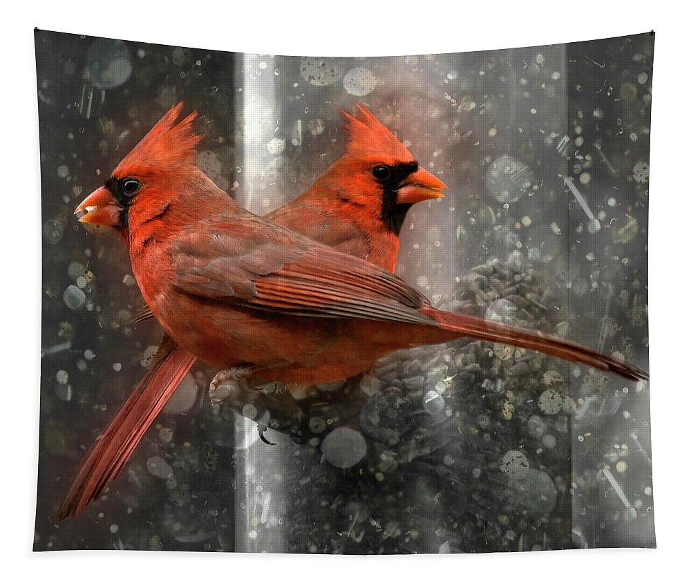 Red Tapestry featuring the photograph Cary Carolina Cardinals by Betsy Knapp