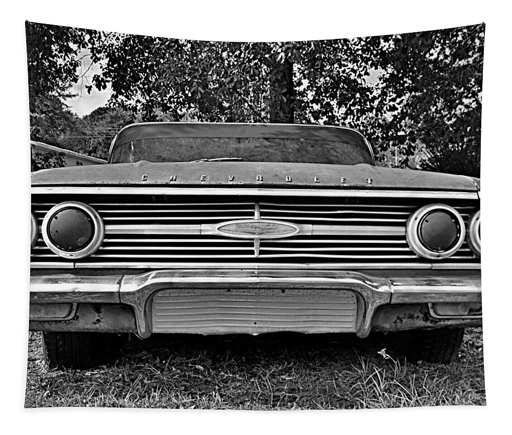 Chevrolet Bel Air Black And White Tapestry featuring the photograph Chevrolet Bel Air Black And White 2 by Lisa Wooten