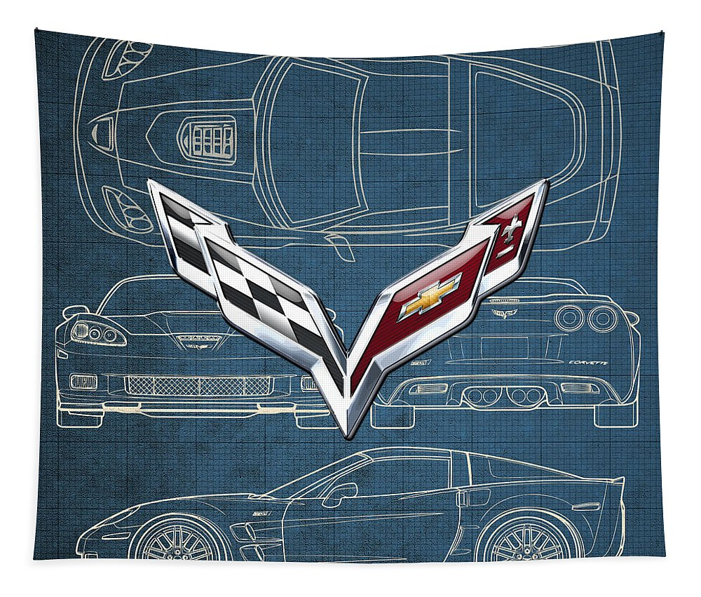 �wheels Of Fortune� By Serge Averbukh Tapestry featuring the photograph Chevrolet Corvette 3 D Badge Over Corvette C 6 Z R 1 Blueprint by Serge Averbukh