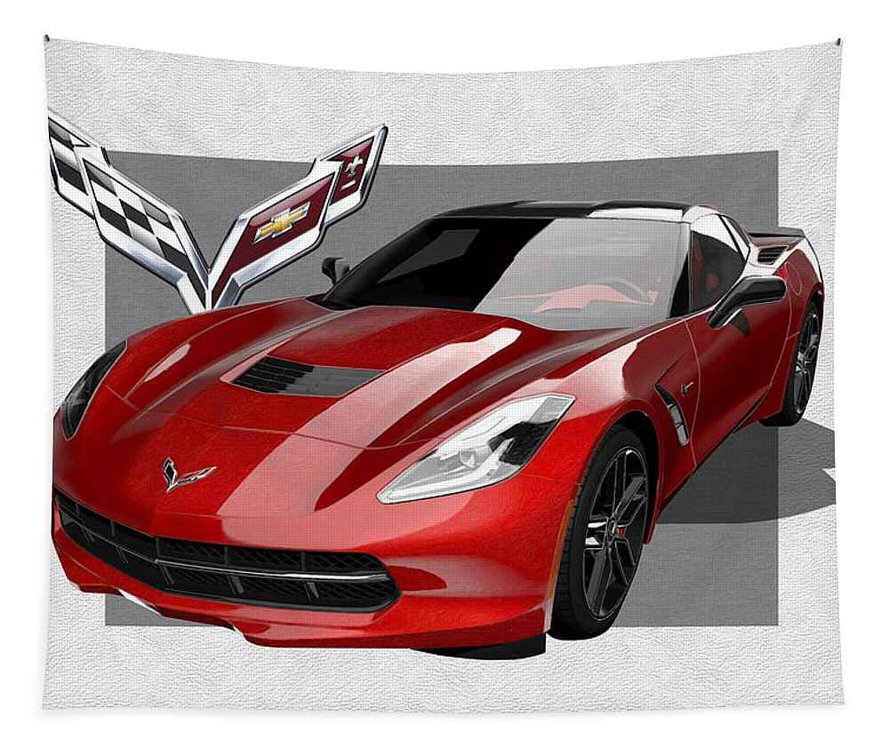 �chevrolet Corvette� By Serge Averbukh Tapestry featuring the photograph Chevrolet Corvette C 7 Stingray with 3 D Badge by Serge Averbukh