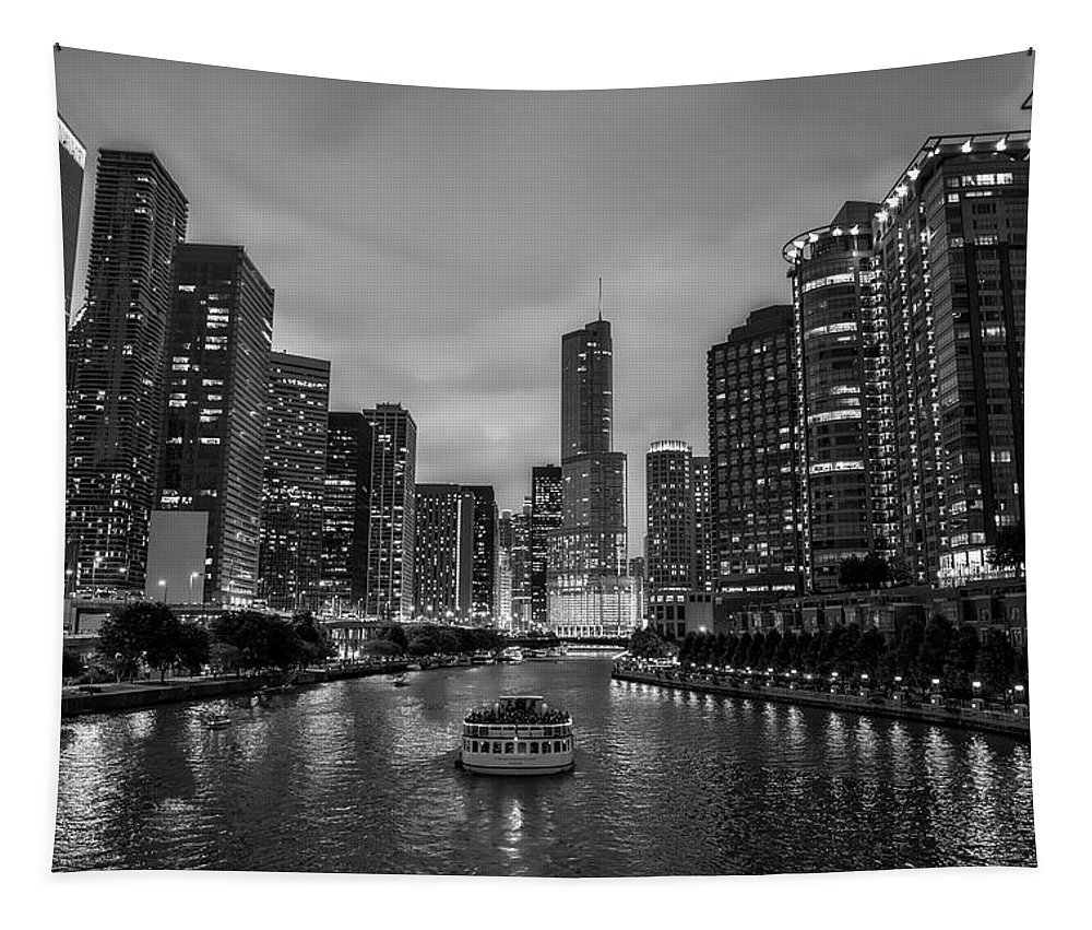 Chicago Tapestry featuring the photograph Chicago River Sunset by Roman Arkipov