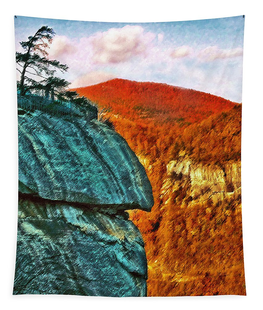 Landscape Tapestry featuring the painting Chimney Rock by Steve Karol