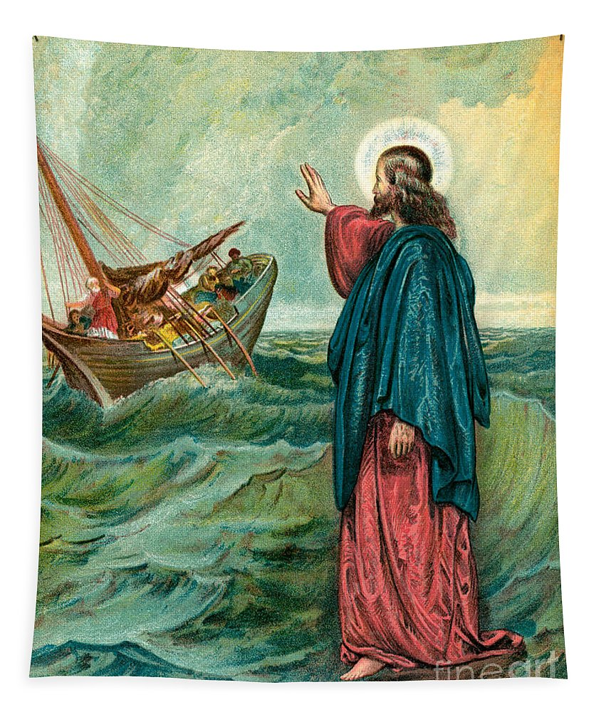 Christ Walking On The Sea Tapestry featuring the painting Christ Walking On The Sea by English School