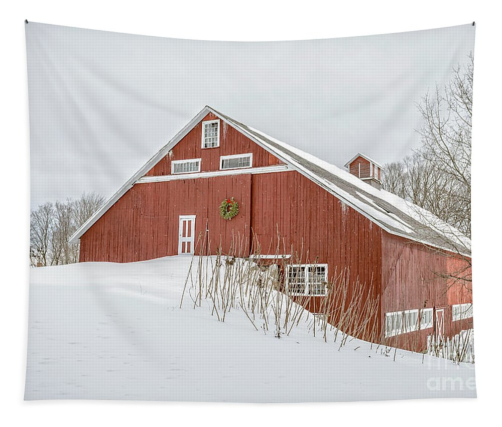 Christmas Tapestry featuring the photograph Christmas Barn by Edward Fielding