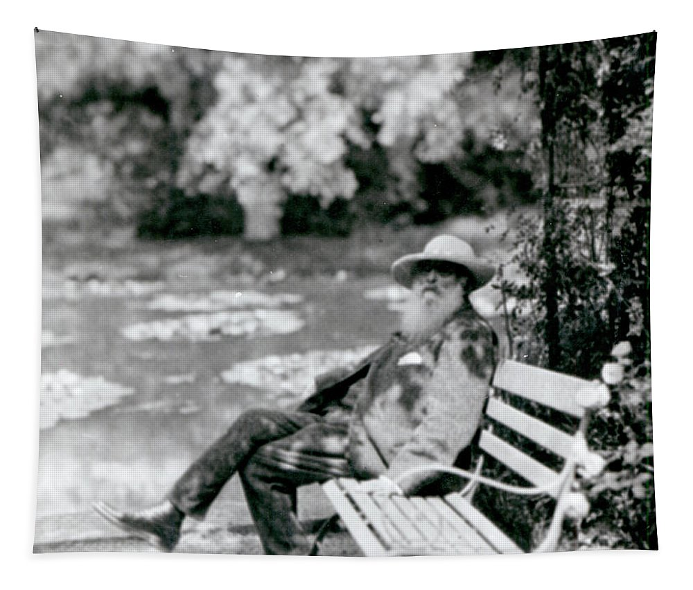 Male Tapestry featuring the photograph Claude Monet In His Garden by French School