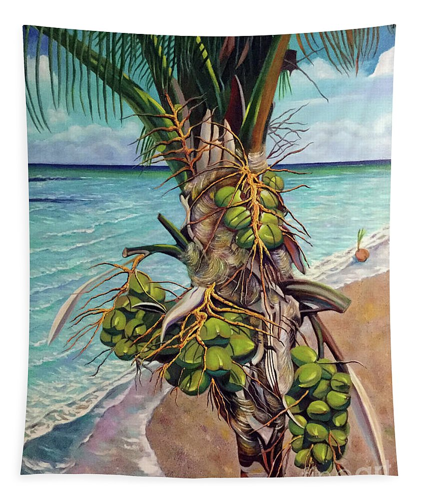 Coconuts Tapestry featuring the painting Coconuts on beach by Jose Manuel Abraham
